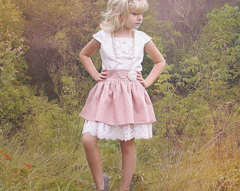 Daphne's Double Skirt . PDF sewing pattern for toddler girl sizes 2t - 12.