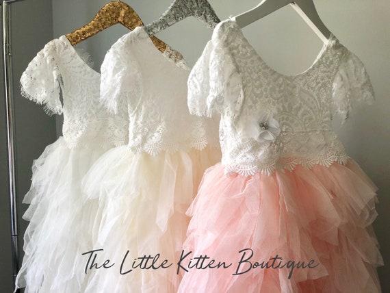 Pink Flower Girl Dress Ivory Flower Girl Dress Blush Flower Girl Dress Lace Flower Girl Dresses Tulle Flower Girl Dress Bridesmaids White
