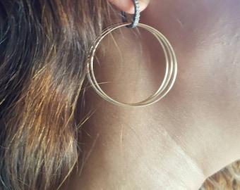 Pave Diamonds Hoop Earrings - Diamond Huggies - Diamond Hoop Earrings - Gold Fiiled Hoop Earrings - Long Earrings - Pave Diamond Huggies