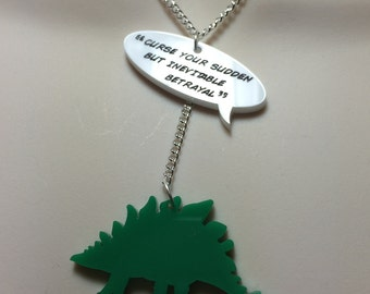 Firefly..quote & Dinosaur laser cut acrylic necklace