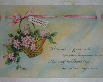 Basket of Pink Flowers Birthday Greetings Antique Pink of Perfection Postcard