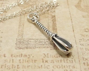 Whisk Necklace, Sterling Silver Whisk Charm on a Silver Cable Chain