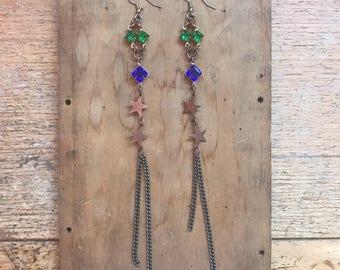 Rhinestone Earrings- Star Earrings- Celestial Jewelry- Festival Earrings-  Bohemian Gift for Her- Gifts Under 50- Mystical Earrings