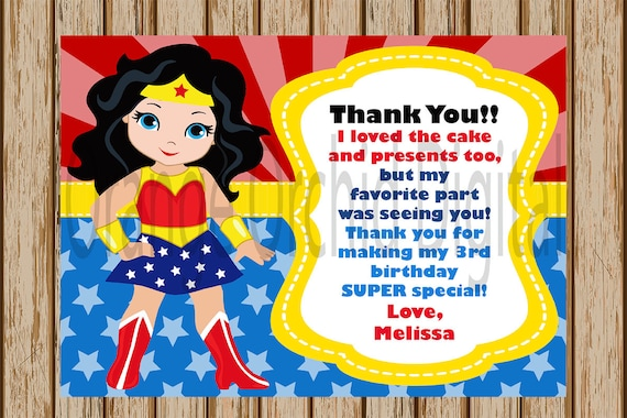 Swell Personalized Wonder Woman Thank You Card Superhero Thank You Funny Birthday Cards Online Hetedamsfinfo