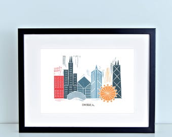 Chicago Skyline Linocut Block Print Sears Tower Bean Navy Pier Ferris Wheel Aon Center Willis Tower Two