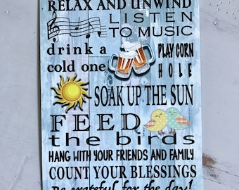 Backyard Rules- Metal Sign - Housewarming Gift- Home Decor - Father's Day Gift - Metal Wall Decor