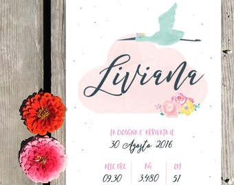 Custom baby girl birth artwork   -  Little rabbit and baby's 1st ID card infos - New mom or new parents gift idea