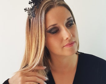 Brooklyn Black leather flower fascinator headpiece