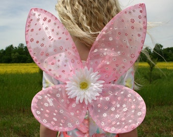 Pink Floral Fairy Wings
