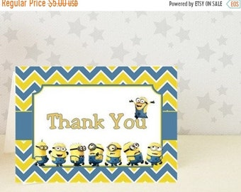 Minion Birthday Thank You Card /MINIONS / 10 PRINTED Cards / with envelopes