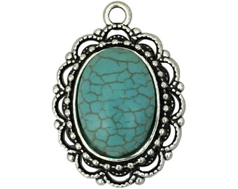 1 Silver Turquoise Charm Pendant 32x23mm by TIJC SP1414