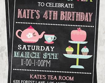 Tea Party Invitation,Tea Party Birthday, Cupcakes and Tea, Chalkboard Tea Party Invitation, Printable Tea Party Invitation, Digital