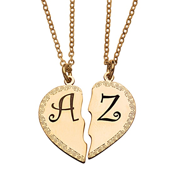 Couples necklace set hers necklaces couple pendant broken couples necklace set hers necklaces couple pendant broken heart necklace half heart necklace set split heart necklace 24k gold plated aloadofball Gallery