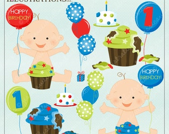 Baby Boy Cake Smash Cute Digital Clipart for Card Design, Scrapbooking, and Web Design