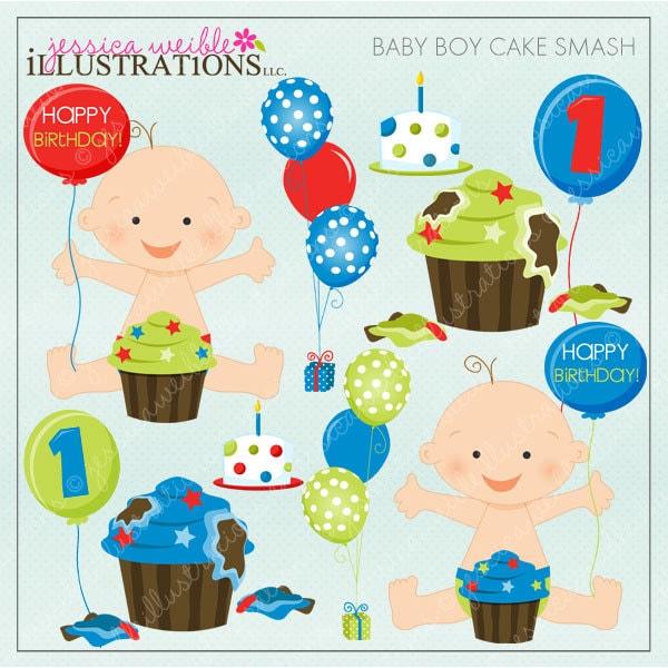 baby boy cake smash cute digital clipart for card design rh etsy com birthday boy clipart png 2nd birthday boy clipart