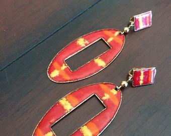 Mod Enamel Earrings, Large Enamel Clips, Red Enamel Earrings, Colorful Mod Clips, 1960's Enamel Earrings, Vintage Enamel Clips