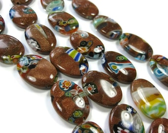 10 Gold Sand Millefiori Large 25mm Oval Beads
