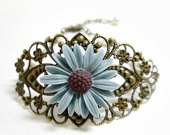 Shabby Chic Cornflower Blue Daisy and Bronze Bracelet