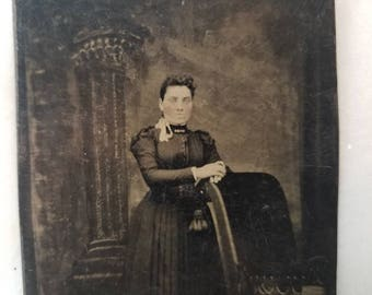 Tintype Photograph of a Victorian Woman Standing, Antique from the 1800s, #TT05