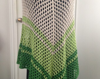 Crochet Granny Poncho in Green Cotton blend, Boho Hippie Gypsy Festival style for Spring & cool Summer evenings, Gift for Her, Women, Teens