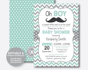 Mustache baby shower etsy instant download editable mustache baby shower invitation mustache invitation little man boy filmwisefo Gallery