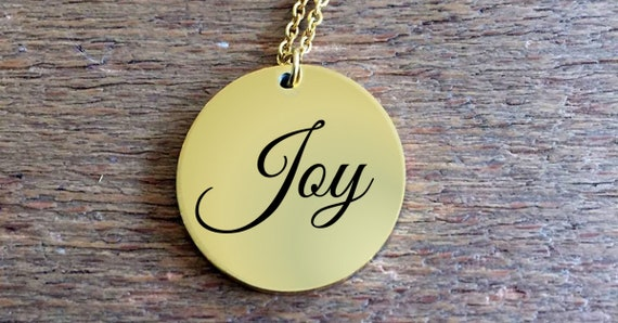 Positivity Jewelry  Joy laser engraved round pendant necklace  18k Gold   uplifting gift  college graduation gift for her  affirmation