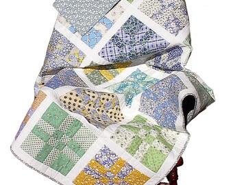 1930's Repro patchwork quilt, OOAK handmade vintage lap couch, floral, D4, 56 x 56
