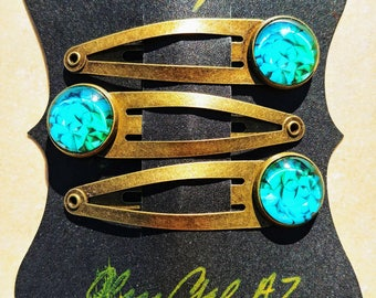 Teal Edgy Green Blue Capped Photo Glass Brass Hair Snaps