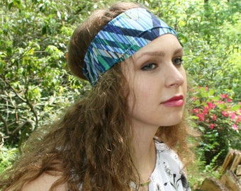 Yoga Headband - Skirmish Print - Running Workout Wide Fitness Boho Spandex - Chevron Striped Blue Green - Women Headband