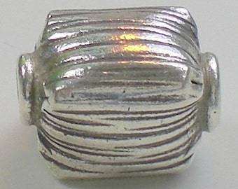 14mm Rectangular Hill Tribe Fine Silver Focal Bead Large Hole HT- 139
