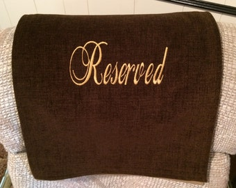 Charmant Recliner Headrest Cover, Furniture Chair Protector, Upholstery Embroidered  Reserved Wording, Deluxe UF Brownie Brown 14x30, Perfect Gift