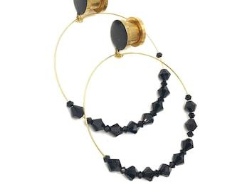 Gold or Silver - Black Gem Hoop Dangle Plugs  / 8g, 6g, 4g, 2g, 0g, 00g, 1/2, 9/16, 5/8, 11/16, 3/4, 7/8, 1in / Hoop Hanging Wedding Plugs