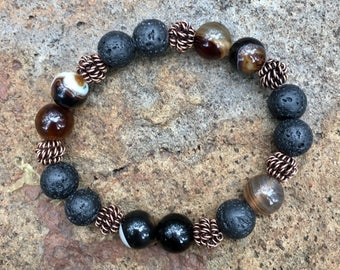 Natural Coffee Striped Agate and Lava Rock Essential Oil Diffuser Bracelet