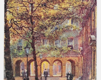 Artist-Signed Pump Court, London Postcard, c. 1910