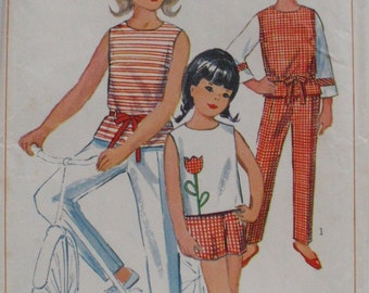 Vintage 1960s Girl's Sewing Pattern - Back Buttoned Top, Pants and Shorts - Simplicity 6476 - Size 12, Breast 30, Uncut