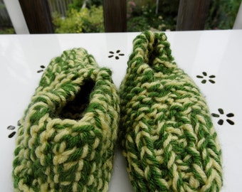 Green and Yellow Handmade Knitted Slippers for kids