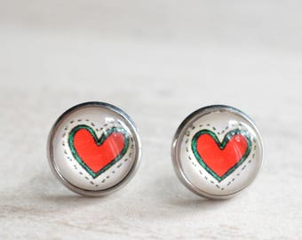 Haring Hearts - Red Heart White Stud Earrings