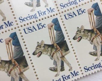 10 Seeing Eye Dog 15c US postage stamps unused - Vintage 1979 - Seeing for Me service dog German Shepard
