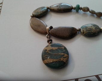 Semi Precious Stone and Sterling Silver Necklace with Large Round Pendant, 925, Vintage Artisan Made
