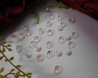 Silver 10 bead caps - flower