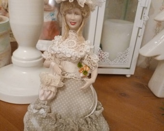 Dollhouse Lady dolls in cream lace 1:12 miniatures unique intricately processed