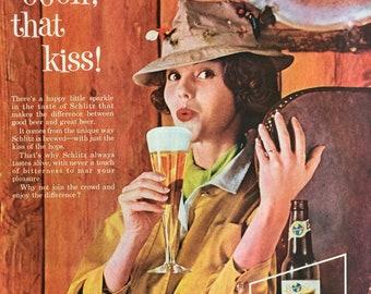 Schlitz Beer ad from 1961, fun beer ephemera.