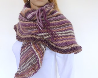 ON SALE Purple Knit shawl Triangle Shawl Plum knit scarf Earthy Hand knitted wrap Knit Poncho