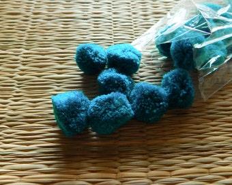Teal Blue Pom Poms, 20mm Pom Pom Balls, Yarn Pom Poms, Party Pom Poms