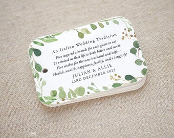 Greenery Sugared Almonds Personalized Gift Tags, Jordan Almond Favor Tags, Wedding Favor Tag, Italian, Greek, Set of 20 (Item code: J740)
