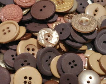Brown Buttons - Assorted Colors Tan Dark Brown - Sewing Bulk Button - 100 Buttons - Chocolate