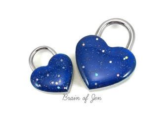 Cobalt Blue Heart Padlock for Day Collars BDSM Bondage Jewelry