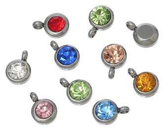 5 Stainless Steel Rhinestone Charms, Random Colors (1K-227)