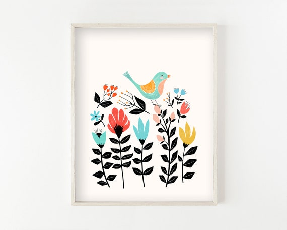 """Folk Art Garden"" - wall art print"