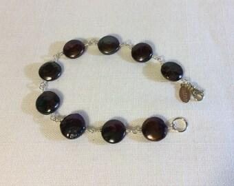 Freshwater Coin Pearl & Sterling Silver Bracelet